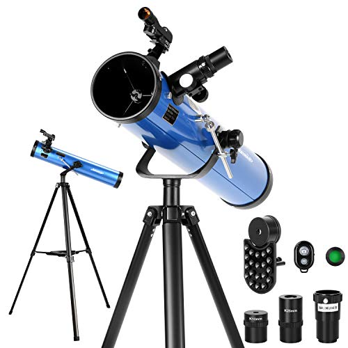 AOMEKIE Reflector Telescopes for Adults Astronomy Beginners 76mm/700mm with Phone Adapter Bluetooth Controller Tripod Finderscope and Moon Filter Maryland