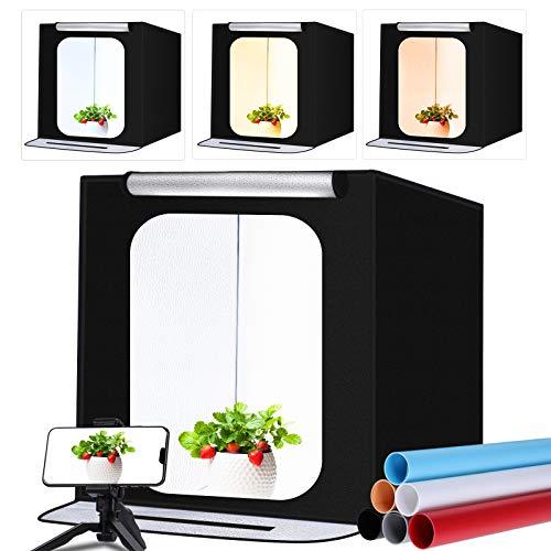 "FOSITAN Photo Studio Light Box 24""/60cm Bi-Color Dimmable 3200K-5700K Photo Shooting Tent Kit with 6 PVC Backdrops Foldable Portable Professional Booth Table Top Photography Lighting Kit"