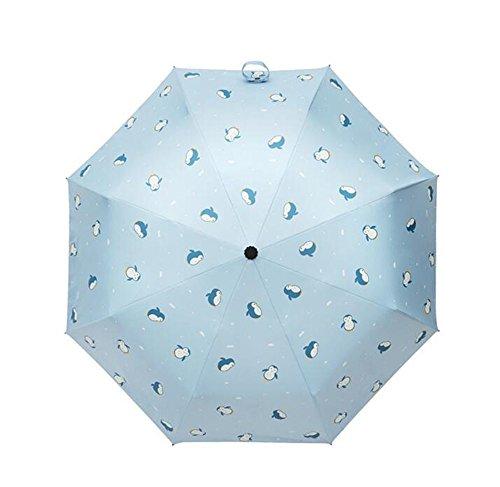 cuzit Lovely Pinguin Himmel 3faltbaren Cool Summer Parasol Sun Schutz Regenschirm für Mädchen