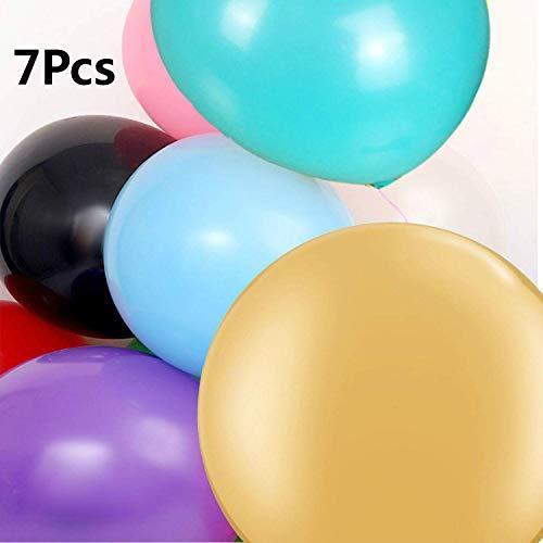 Perücke 7 große Luftballons - 36 Zoll runde Luftballons - extra große und Dicke Luftballons Farbe riesige Latexballons, für Fotoshooting Geburtstag Hochzeitsfeier Festival Event Karneval Dekorationen