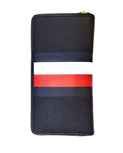 Tommy Hilfiger Womens Continental Zip Around Wallet, Navy Flag, Medium