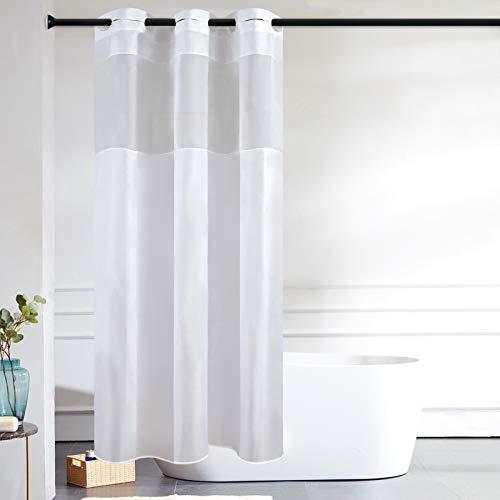 Furlinic Schmaler Duschvorhang für Eck Dusche Kleine Badewanne Badvorhang mit Gazefenster aus Stoff Schimmelresistent Wasserdicht Waschbar Weiß 120x200 mit Groß Ösen.