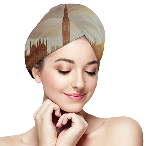 QHMY London at Dusk London Eye City Hall Girls Hair Wrap Towel Hat to Dry Hair Soft Absorbent Quickly Dry Hair Turban Hair Towel Wraps for Girls Hair Wrap Towel Hair Wrap Wraps for Girls