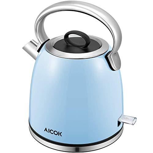 Aicok Bollitore Elettrico Vintage Bollitore Acqua in Durevole Acciaio Inox con 1,7 Litri, 2200W Rapido Bollitore Elettrica (blu)