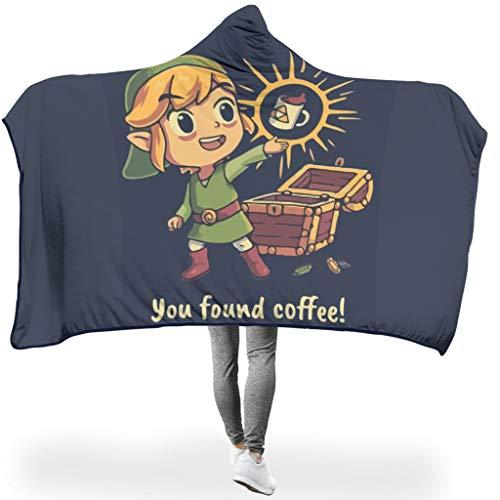 djfrnuki Sie fanden Kaffee leicht Verschiedene Muster tragbare Überwurfdecken mit Kapuze Erwachsene Frauen Männer für Reise in kalter Umgebung Wunderschöner Stil Zelda niedlichen White 150x200cm