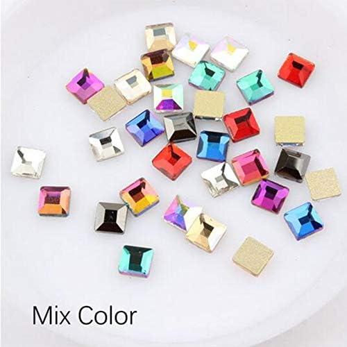 Xuccus 30pcs Great interest Big Pack Max 76% OFF Nail Rhinestones Mixed Square Flatback 4mm