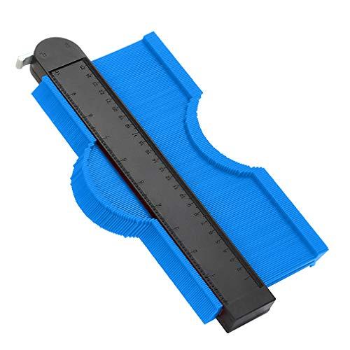 WHATOOK 輪郭ゲージ 型取りゲージ コンターゲージ測定工具 250mm ロック付き 目盛付き 不規則な型取り定規 曲線測定 DIY用測定 ABS樹脂製 青(ブルー)