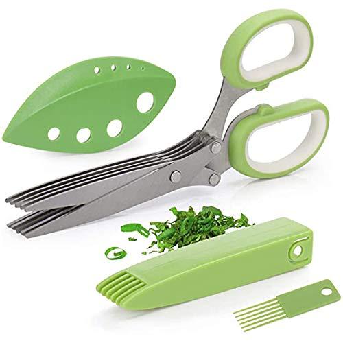 Tijeras para hierbas,multiusos para cortar y triturar hierbas con 5 cuchillas y cubierta con peine de limpieza, tijeras para cortar hierbas de cocina para cebollas verdes frescas, cilantro,perejil