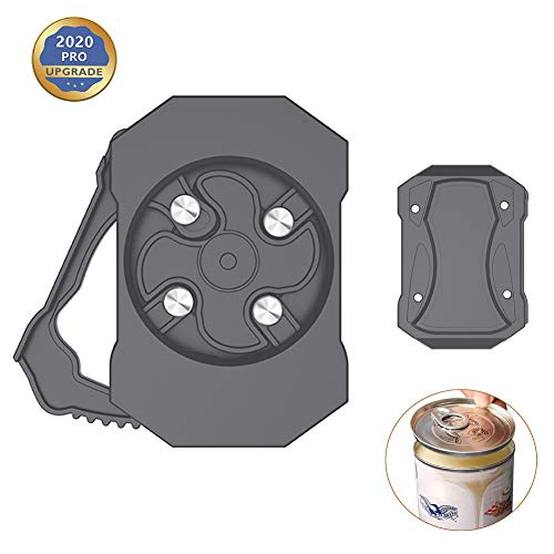 Go Swing Topless Can Opener Beverage & Beer Screw Cap Jar Multifunctional bottle Opener - Manual Smooth Edge Safety Food Grade Can Opener with Locking Feature for 8-19 oz Beverage Cans (gray-1)