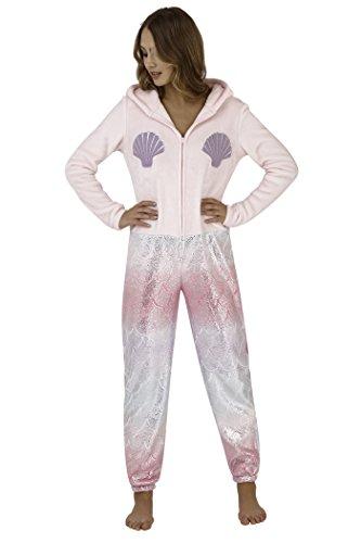 Loungeable Damen Jumpsuit Overall Tiere Gesichter Öhrchen 3D Kapuze Meerjungfrau Metallic 798042 XL