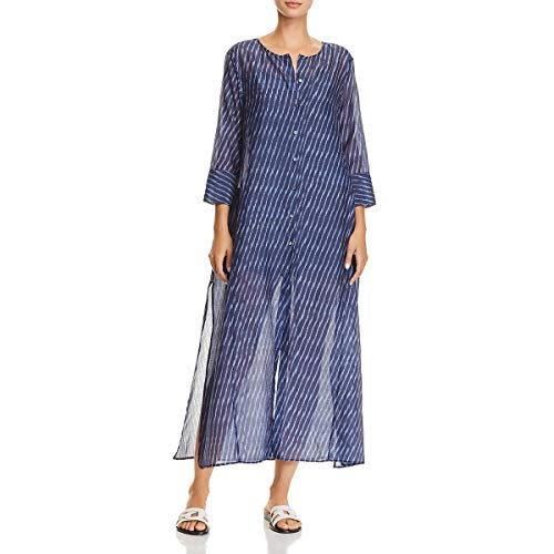 Theory Damen 3/4 Sleeve Weekend Buttondown Maxi Dress Freizeitkleidung, Blau/Mehrfarbig, Groß