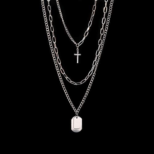 TREW Multi-Layer Long Chain Ketting Punk Cross Hanger Collier for vrouwen mannen Metal zilveren kettingen Hip Hop Goth Sieraden Kado (Metal Color : THREE)