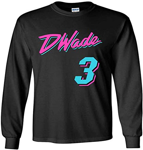 The Tune Guys Long Sleeve Black Miami Wade Vice City T-Shirt (Youth Large)