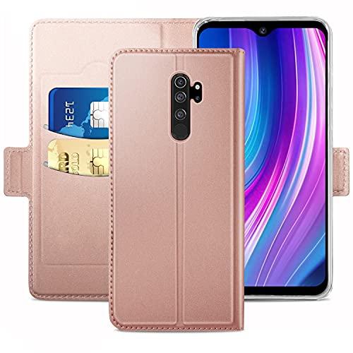 YATWIN Handyhülle für Xiaomi Redmi Note 8 Pro Hülle Leder Premium Tasche Hülle für Redmi Note 8 Pro, Schutzhüllen aus Klappetui mit Kreditkartenhaltern, Ständer, Magnetverschluss, Rose Gold