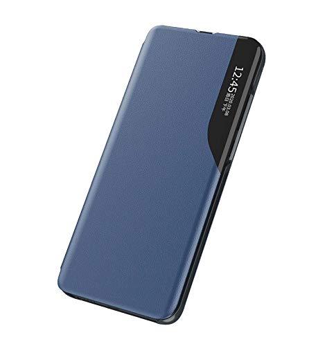KERUN Funda para Protectora Xiaomi Mi 11 Lite 4G / 5G, Funda Protectora de Espejo con Función de Sueño Inteligente, Dar la Vuelta Plegable de Concha Funda de Cuero para Teléfono. Azul