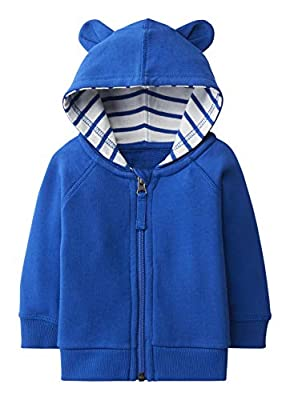Hanna Anderssson Baby/Toddler Cotton Hooded Zip Sweatshirt Baltic Blue -50