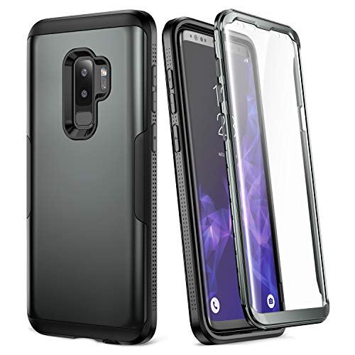 Galaxy S9+ Plus Case, YOUMAKER Gun Metal with Built-in Screen Protector Heavy Duty Protection Shockproof Slim Fit Full Body Case Cover for Samsung Galaxy S9 Plus 6.2 inch (2018) - Gun Metal/Black