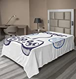 Lunarable Gamer Flat Sheet, Sketch of Videogame Controller D-Pad and Smiling Buttons Design, Soft Comfortable Top Sheet Decorative Bedding 1 Piece, Twin Size, Azurblau