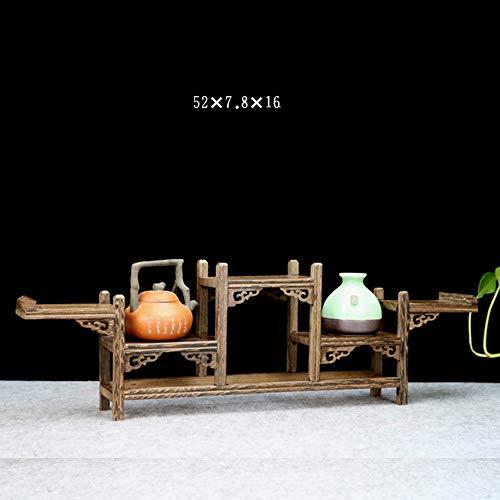 HUO Aile de poulet en bois petite étagère Chine Style en bois massif thé ensemble de plateau Étagère murale créative (taille : G)