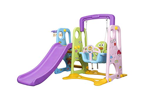 Little Champs Kids Children Playground Swing Chair Slide, Play Toy Center Swing & Slide { PINK, L160*W160*H115 }