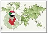Kühlschrankmagnet Weltkarte mit Sudan & Flagge