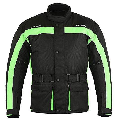 PROFIRST Chaqueta impermeable para motocicleta en tejido Cordura y protección aprobada por la CE. Diseño de abrigo largo (verde, talla 4XL)