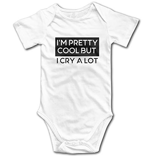 I'm Pretty Cool But I Cry A Lot Baby Onesies,Unisex Solid Multicolor Baby Bodysuits 0-24 Months