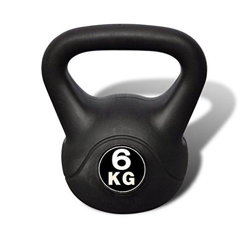 Anself Kettlebell 6-20 KG Kugelhantel Hantel Gewichte Hantel Fitness Hanteln mit Kunststoffummantelung Schwarz