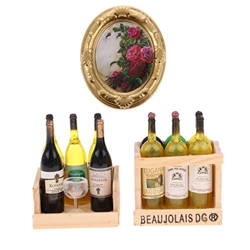 perfeclan Botellas de Vino con Caja Magnética Y Adornos de Escala 1/12 con Imagen de Flores Vintage