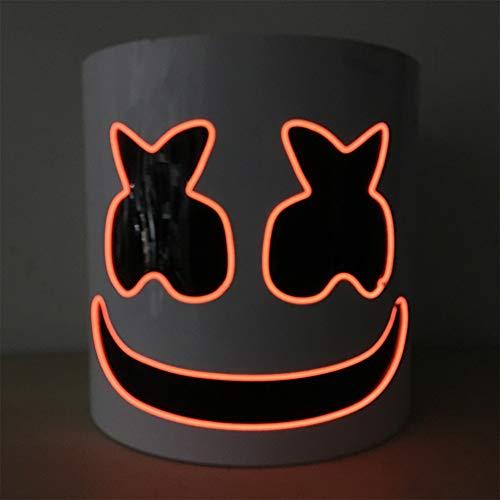 AP.DISHU DJ Marshmallow Helm Masker, DJ Muziek Festival Masker Helm Party Nieuwigheid Kostuum Helm Masker, Chris Comstock Stijl Masker, met Licht