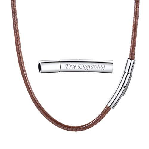 PROSTEEL Collar de Cuero Genuino para Hombre, Marrón 3mm Cadena de Cuero con Cierre de Acero Inoxidable Collar Básico, 61cm Regalo para Hombre Regalo para Mujer
