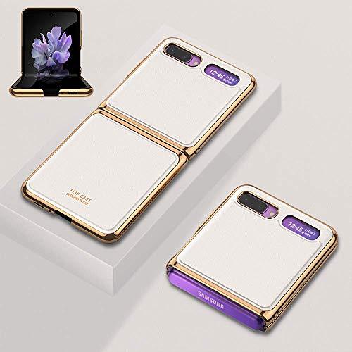 SHIEID Ledertasche für Samsung Galaxy Z Flip 5G Hülle mit [Stoßfest]+[Sturzsicher] Schutzhülle, Klappbildschirm Echtes Leder Handyhülle für Samsung Galaxy Z Flip 5G-Elegantes Weiß