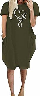 فستان مطبوع عليه كلمة «فيث» باكمام قصيرة وقبة دائرية وجيب للنساء، بلايز كاجوال
