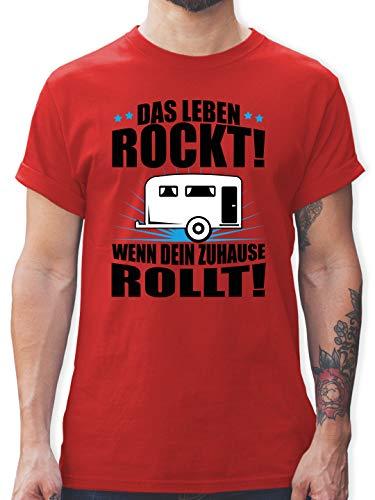 Hobby - Das Leben rockt! Wohnwagen schwarz - XL - Rot - Tshirt Herren Leben - L190 - Tshirt Herren und Männer T-Shirts