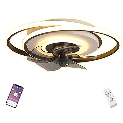 90W Lampara Ventilador Techo con Luz y Mando a Distancia Silencioso Redondo Negro Plafon LED Ventilador de Techo con Iluminacion Temporizador Regulable Infantil Salon Dormitorio Juveniles 50cm