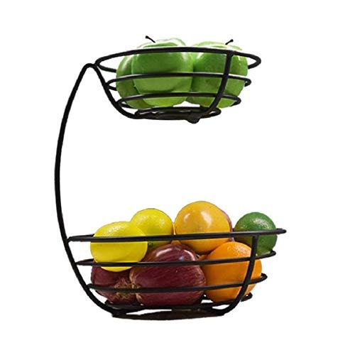 WZHZJ Cestas de Fruta de la grada 2 de Metal Pan Canasta de Almacenamiento Soporte de exhibición de Cocina con Tornillos diseño Libre