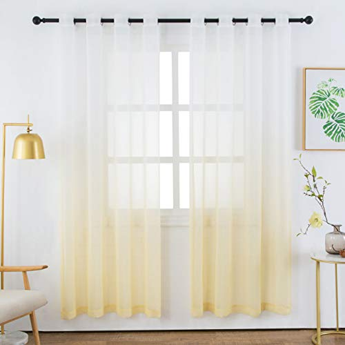 Faux Linen Sheer Curtains Voile Grommet Semi Sheer Curtains for Bedroom Living Room Set of 2 Curtain Panels 54 x 95 inch Light Yellow Gradient