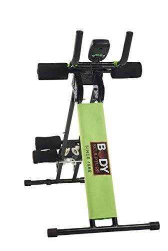 ORIGINAL BODY SCULPTURE EASY SLIDER Bauchtrainer und Rückentrainer, faltbarer AB-Trainer ideal für Zuhause  - Computer mit Kalorienverbrauch Anz. Übungen Zeit - AB-Trimmer 4fach verstellbar
