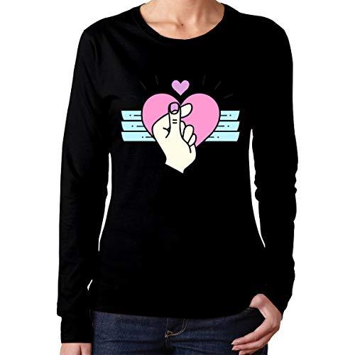 U are Friends T-Shirt de Sport à Manches Longues pour Femme,cœur,féminin(Casual,Noir)