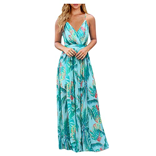 CEFGR V Ausschnitt Kleid Damen Sommerkleider Böhmisch Kleid Halfter Ärmellos Blumenkleid Strandkleid Lang Kleider MaxiKleid Cocktailkleid