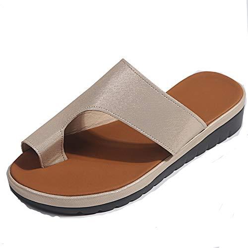 ZJMM Sandalias De Punta Dorada para Mujer, Sandalias De Talla Grande, Zapatillas Casuales De Color Sólido para Primavera Y Verano Femeninas