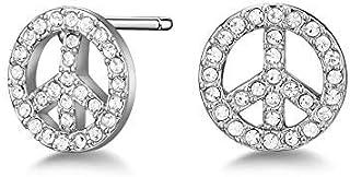 Mestige Brass Silver Peace Earrings - MSER3862