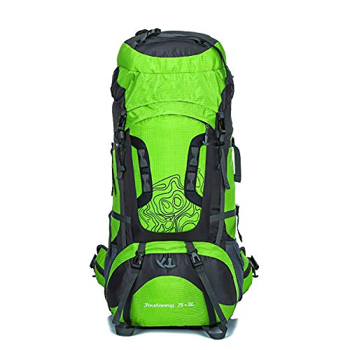 JTKDL Zaino 80L Ideale per Sport all Aria Aperta Escursionismo Trekking Viaggi in Campeggio Arrampicata in Montagna,Green