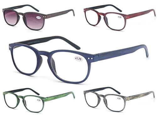 MODFANS (5 Pack) Lesebrille 1.75 Rund Herren/Damen,Gute Brillen,Hochwertig,Komfortabel,Super Lesehilfe,fur Manner und Frauen