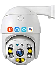 Tuya Smart Life WIFI PTZ Camera, 3MP WAToProof Auto Tracking Security Kamera IP, Night Vision Cloud Storage CCTV Surveillance Kompatybilny Z Alexa Google Home(Size:Camera+64g)