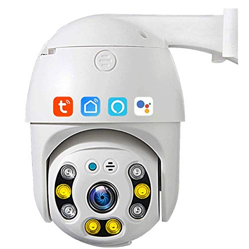 HLSH Tuya Smart Life WiFi PTZ-Kamera, 3MP wasserdichte IP-Kamera Mit Automatischer Verfolgung, Nachtsicht-Cloud-Speicher CCTV-Überwachung Kompatibel Mit Alexa Google Home(Size:Kamera)