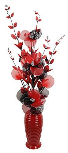 Flourish künstliche Blumen mit vase, Polyester, rot mit schwarz, 80cm
