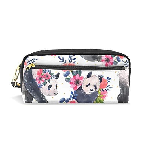 Mr.XZY Lindo Panda Lápiz Bolsa Estuche para Niñas para Niños Patrón de Acuarela Multi-Función Estudiante Pluma Bolsa de Cuero de la PU Bolsa de Maquillaje 2010617