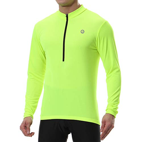 qualidyne Radtrikot Herren Langarm Fahrradtrikot Atmungsaktive  MTB Cycling Shirt mit Anti-Rutschgummi ,Neongelb,XXL
