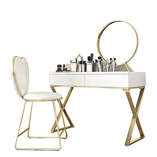Ouuager-Home Schminktische Schlafzimmer Minimalist Frisierkommode Weiß Make-up Table Set for Mädchen Frisierkommode (Color : Gold, Size : 80x40cm)